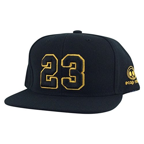 Caprobot Custom Embroidered Hat Player Jersey Number #23 Snapback Cap Black / Gold Outline