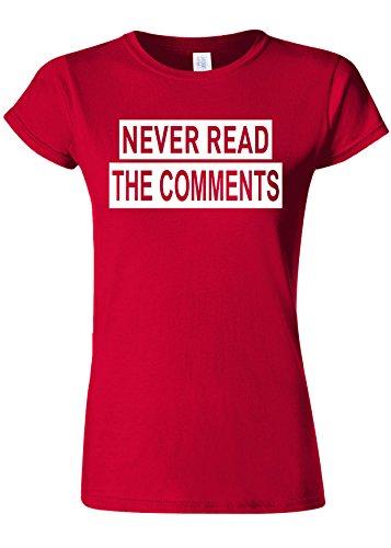 鉄閲覧する香りNever Read the Comments Internet Novelty Cherry Red Women T Shirt Top-M