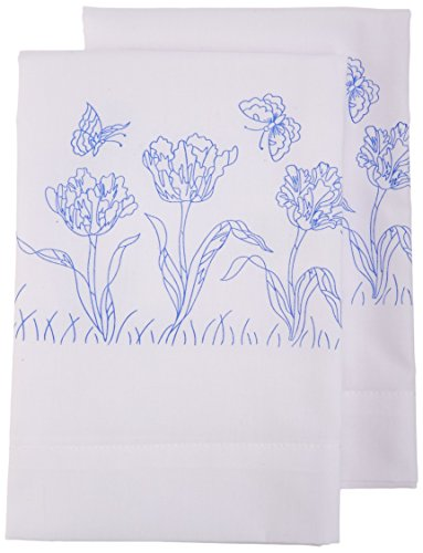 Tulip Country Cottage - Janlynn Embroidery Kit Tulip Garden Pillowcase Pair