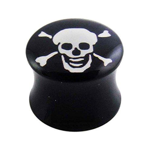 24MM Danger Skull Logo Black UV Double Flared Ear Plug Body jewelry by Tunnel-Plug-Taper