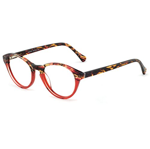 OCCI CHIARI Rectangle Stylish Eyewear Frame Non-prescription Eyeglasses With Clear Lenses Gifts for Women (Red, 49)