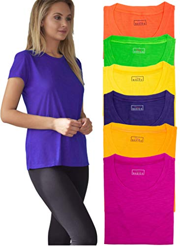 Women's Everyday Flowy Slub Burnout Active Casual Workout Crew T Shirt Tops - 6 Pack (6 Pack-Neon Green/Yellow/Orange/Red/Purple/Pink, XXX-Large)