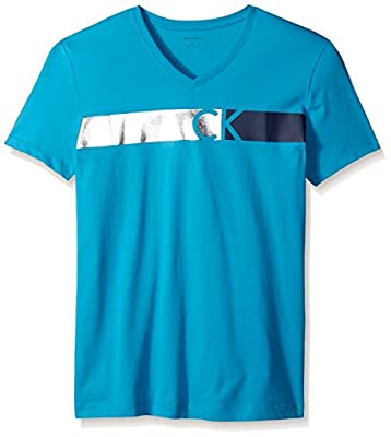 Calvin Klein Men's Short Sleeve Bar Ck Logo V-Neck T-Shirt