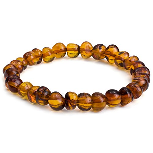 Amber Stretch Beads Bracelet 7 Inches