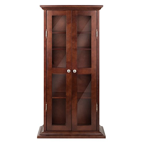 cd cabinet with doors winsome wood cd dvd cabinet with glass doors antique walnut 13291