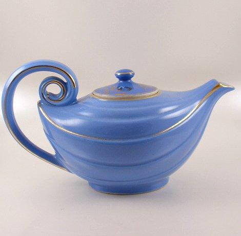 Hall China Cadet Blue Gold Aladdin Tea Pot Repaired Lid