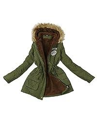 Malltop Womens Coat Faux Fur Collar Hooded Jacket Winter Warm Parka Outwear