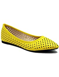 Womens Perforated Slip On Comfortable Point Toe Flat Shoes