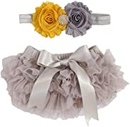 2pcs Newborn Girls Chiffon Bloomer & Headband Set Newborn Photo Prop Baby Girl Cake Smash Outfit Gray &