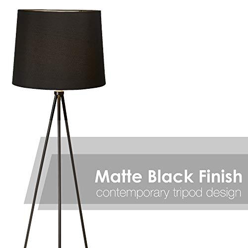 Newhouse Lighting NHFL-AL-BK Alexandria Tripod Floor Lamp, Black