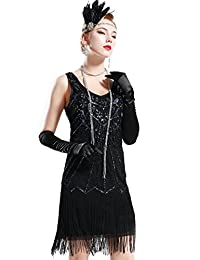 BABEYOND Women's Flapper Dresses 1920s V Neck Beaded Fringed Great Gatsby Dress