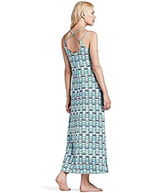 Women's - Blue/Multi Aztec Geometric Print Knit Maxi Dress