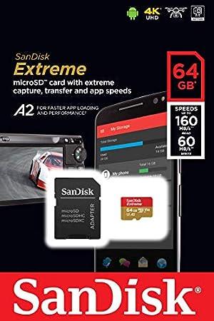 SanDisk 512GB Extreme microSDXC UHS-I Memory Card with Adapter - C10, U3, V30, 4K, A2, Micro SD - SDSQXA1-512G-GN6MA (Renewed) (Tamaño: 512GB)