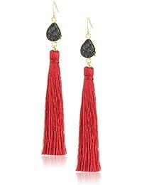 black drusy burgundy tassel earrings