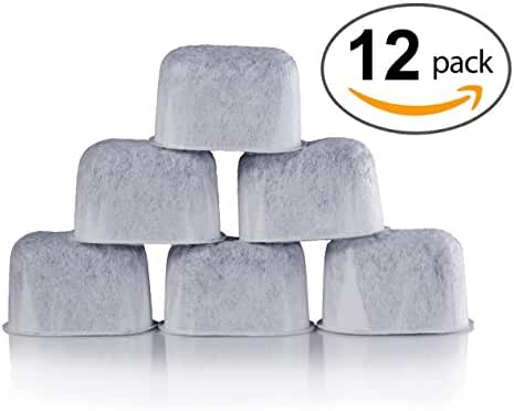 12-Pack of DCC Compatible Replacement K&J Charcoal Water Filters for Coffee Makers - Fits all Coffee Makers