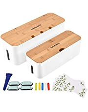 VORDRASSIL Cable Management Box Organizer for Cords, Computer USB-Hub, TV to Cover and Conceal Power Strips, Etc.-Set of 2, with a Bamboo Lid