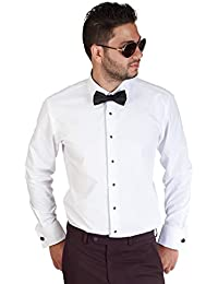 "<span class=""a-offscreen"">[Sponsored]</span>Mens Slim Fit White Tuxedo Shirt French Cuff Wrinkle Free By Azar"