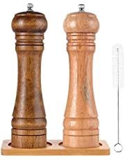 SZUAH Salt and Pepper Grinders,Oak Wooden Salt and Pepper Mills Shakers with Cleaning Brush, Ceramic Rotor with Strong Adjustable Coarseness[Set of 2]