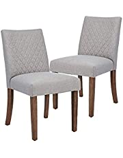 CangLong Upholstered Dining Chair for Kitchen Room Side Chair with Wood Legs Set of 2,Gray