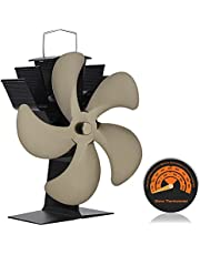 YESURPRISE Heat Powered Wood Stove Fan, Upgrade 5 Blade Silent Eco Friendly Fireplace Fan with Thermometer Ideal for Gas/Pellet/Wood/Log/Stove/Fireplace (Bronze)