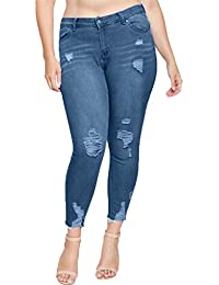5248b5434dc Memela Plus Size Women s Jeans Stylish Pants Slim Fit Casual Ripped Holes  Stretch Trendy Jeans