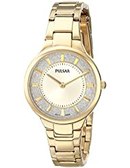 Pulsar Womens PM2132 Gold-Tone Watch with Link Bracelet