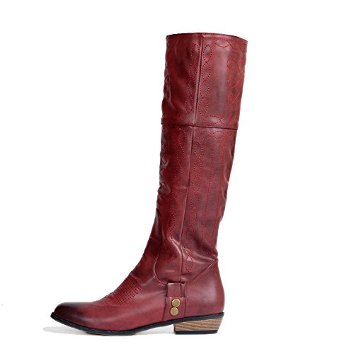 Original Intention Riding Elegant Women Knee High Riding Intention Boots Round Toe Square Heels Wine Red Shoes for Woman B07DQBHG22 Parent 38eb33