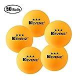 Kevenz 3-star Ping pong Balls (50 or 100_Pack, Orange,White ping-pong)