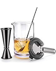 Boston Cocktail Shaker Bar Set by VinoBravo: 18oz & 28oz Weighted Shaker Tins, Hawthorne Cocktail Strainer, Double Jigger, 12'' Mixing Spoon, 7'' Drink Muddler and 30 Classic Recipes