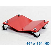 """Heavy Duty Car Dolly Professional Automobile Wheel Skate Shop Garage Premium Easy Roll Automotive & Equipment Movers 2,500# Capacity Each Full Bearing Non-Mar Casters (16""""x16"""")"""
