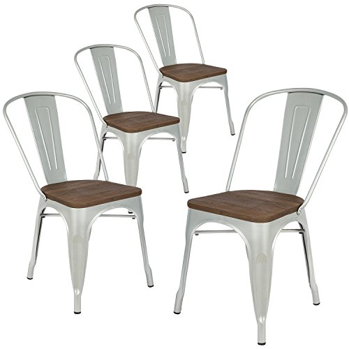 LCH Industrial Metal Retro Stackable Dining Chairs, Set of 4 Indoor/Outdoor Rustic Bistro Cafe Chairs with Wood Seat and Back (Silver)