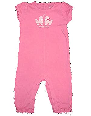 Baby Girls Puppy Princess Pink Knit Dog Romper 3-6 months