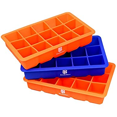 DecoBros 3 Pack Silicone Cube Ice Tray (2 Orange / 1 Blue)