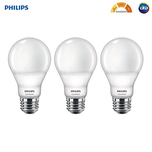 Philips LED 464933 60W Equivalent SceneSwitch Brightness A19 LED Light Bulb, Frustration Free 3 Pack, 3-Pack, Soft White with Warm Glow, 3 Count