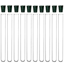 10 Pack - 16x150mm Pyrex Glass Test Tubes with Rubber Stoppers