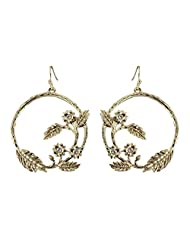 SKY ME SHOP_CA: Silver/Gold Color Zinc Alloy Flower Plant Shape Drop Earrings with Mini Faceded Crystal Earings Fashion Jewelry Pendientes Mujer