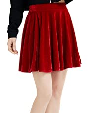 Springfavor Womens Vintage Velvet Stretchy Flared A-Line Mini Skater Skirt