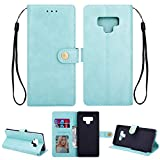 Ostop Samsung Galaxy Note 8 Leather Wallet Case,Mint Green Classic Oil Wax PU Stand Purse Credit Card Slots Holder Flip Stylish Simple Cover Retro Metal Clasp Samsung Galaxy Note 8