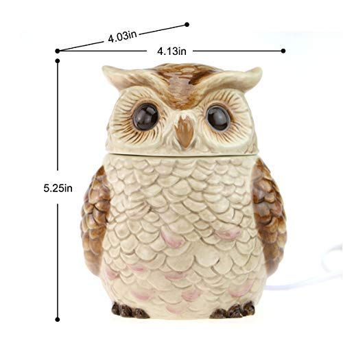 STAR MOON Wax Melt Warmer for Home Décor, Owl Wax Warmer, Scentsy Warmer, No Flame, with Ceramic Warming Plate (The Owl of Athena)
