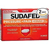 Sudafed PE Pressure + Pain + Cough for Adults Caplets - 24ct, Pack of 2