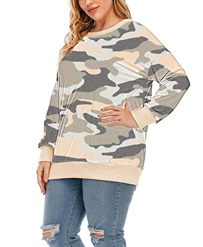 YASAKO Womens Plus Size Casual Tie Dye Camo Print Long Sleeve Shirts Crew Neck Loose Fit Sweatshirt Pullover Tops (Camouflage Orange, 3X-Large)