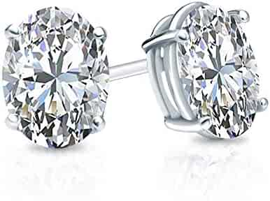 bbamjewelry Certified 4-Prong Basket Asscher Cut Real Moissanite Stud Earrings In 14K White Gold Plated