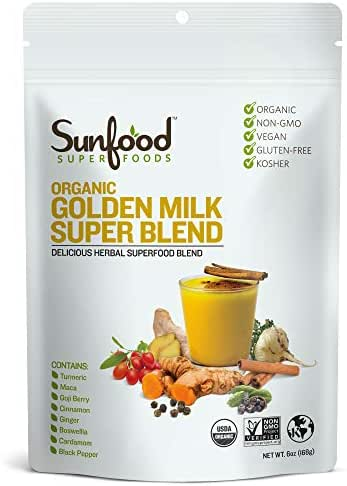 Sunfood Superfoods Golden Milk Super Blend - All Natural, Organic Ingredients | Ultra-Clean (No Chemicals, Artificial Flavor, Additives or Fillers) | Non-GMO, Gluten-Free, Vegan, Kosher | 6 oz Bag