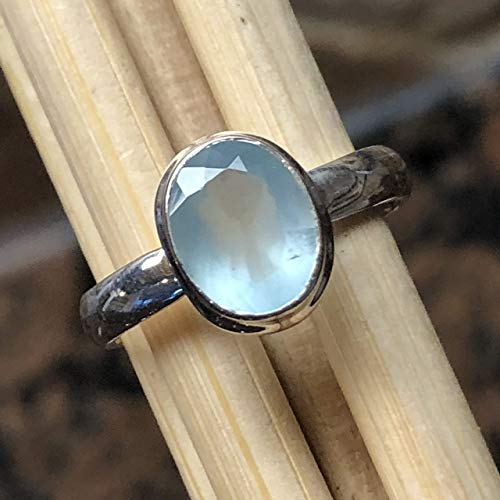 Natural 1.25ct Milky Aquamarine 925 Solid Sterling Silver Oval Shape Solitaire Ring sz 6.5