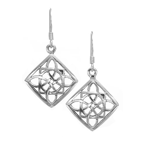 925 Oxidized Sterling Silver Square Celtic Knot Dangle Earrings - Nickel Free