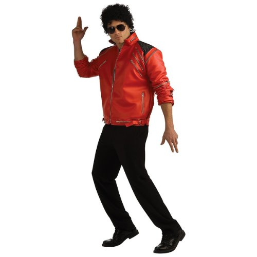Beat It Michael Jackson Costume (Deluxe Michael Jackson Jacket Adult Costume Beat It Jacket (Red w/ Zippers) - Small)