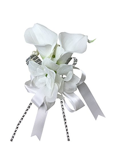Wrist Corsage - Double Calla Lily with Hydrangea - Silk Flower