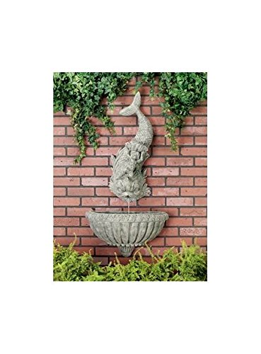 Cherub Dolphin Wall Fountain in Moss Finish - 2 Pc Set by Ladybug