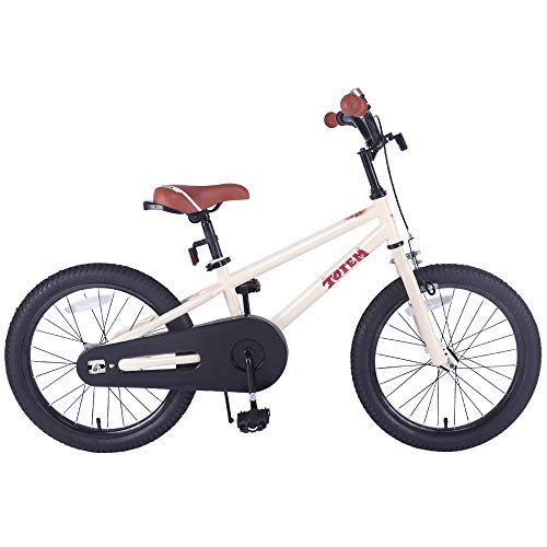 JOYSTAR 18 Inch Kids Bike for 5 6 7 8 9 Years Old Girls & Boys, Unisex Child Bicycle with Kickstand, Beige (Bike For Kids Old Years 9)