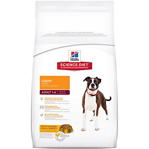 Hill's Science Diet Adult Light Dog Food, Chicken Meal & Barley for weight management, Dry Dog Food, 33 lb Bag